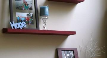 simple zigzag floating shelf decorating ideas