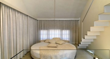 simply white circular bed