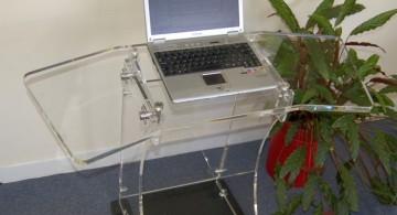 single Acrylic Computer Desk with swing doors