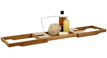 sleek bamboo themed bathroom toiletries set