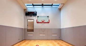 small and narrow indoor home basketball courts