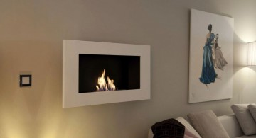 small built in modern white fireplace design for apartment