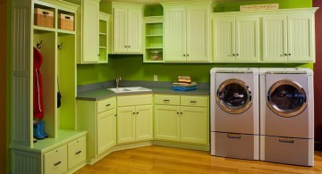 small laundry room designs in green
