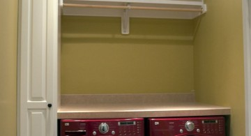 small laundry room storage solutions with overhead shelf