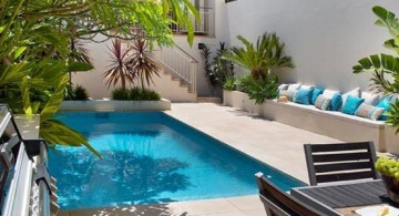 small pool ideas for family with dark wooden furniture and some lovely green plants