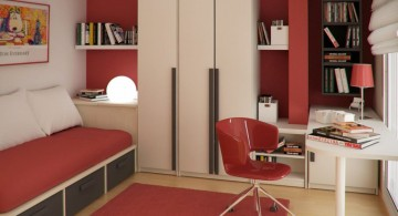small sofa beds for small rooms in red and white