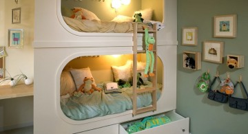 space saving built in cool bunk bed designs