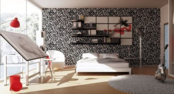 spacious and well lighted red black and white bedroom ideas