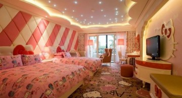 spacious hello kity girls bedroom designs