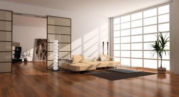 spacious zen living room ideas with unique statue