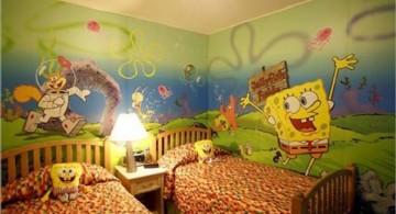 spongebob theme kids rooms paint ideas