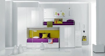 stylish bunk beds in spacious white room