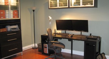 stylish home office with dark wood furnitures