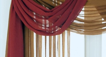 swag valance patterns in brown and red