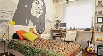 teenage rooms ideas with Bob Marley mural