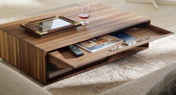 textured with slim drawer wood coffee table designs