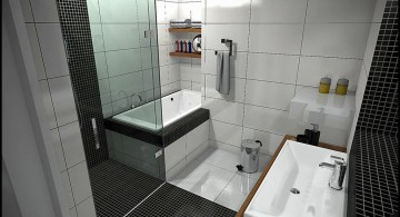 tiny bathroom design ideas in modern black and white tiles
