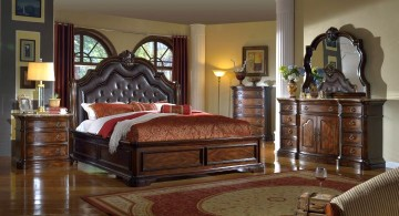 tuscan style bedroom furniture with tall and comfortable headboard