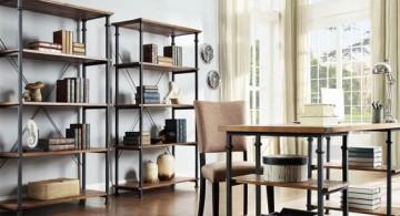 twin shelves vintage industrial bookcase designs