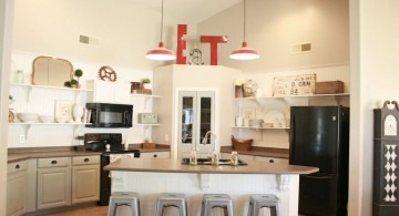 two reds mini pendant lights over kitchen island