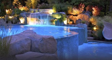 two tiered pool shapes and designs with fake waterfall