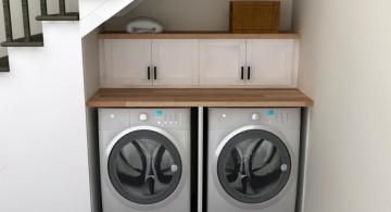under the ladders small laundry room designs