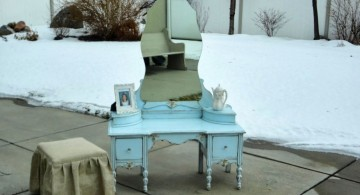 vanity chair with skirt and blue vanity table