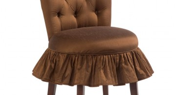 vanity chair with skirt in rich brown color