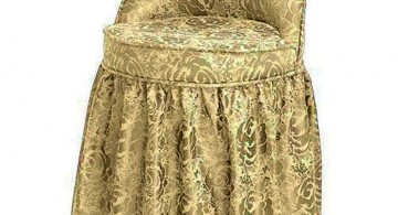 vanity chair with skirt in rich gold fabric