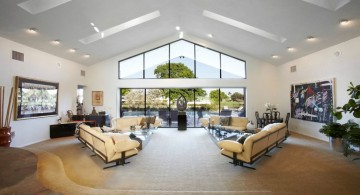 very wide living room with skylight ideas