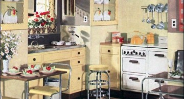 vintage and retro kitchen design with cream walls and white cabinets