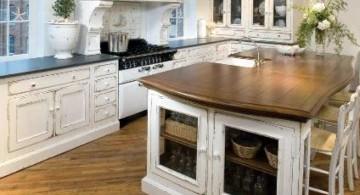 vintage and retro kitchen design with laminated kitchen island