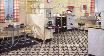 vintage and retro kitchen design with small dining area