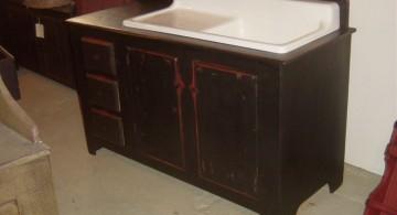 vintage freestanding kitchen sinks in dark wood