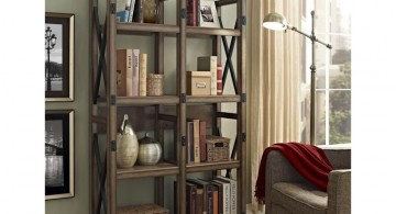 vintage industrial bookcase designs for apartment