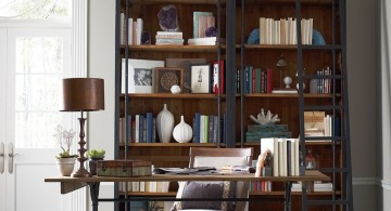 vintage industrial bookcase designs for small office