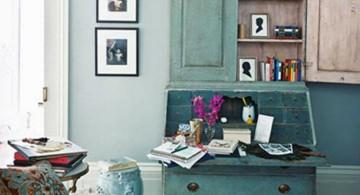 vintage living room ideas in blue with zebra rug