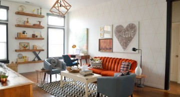 vintage living room ideas with red and blue sofa
