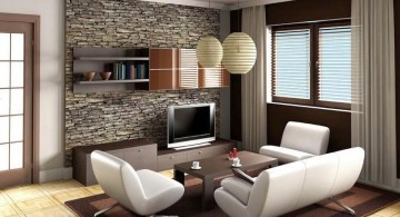 vintage living room ideas with stone wall panel