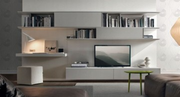 wall shelving units for living room in grey tone
