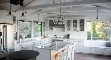 white vaulted ceilings for kitchens