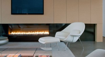 wide modern fireplace designs with glass