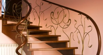 wooden stairs with branches spindle design