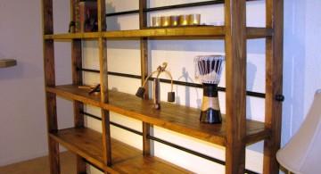 wooden vintage industrial bookcase designs