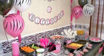 zebra print pink and black wall decor
