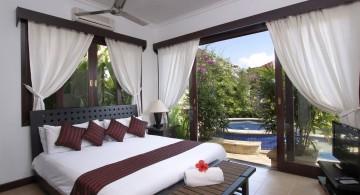 zen bedroom ideas outlooking the pool