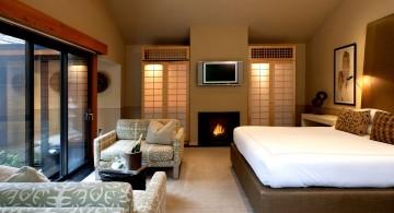 zen bedroom ideas with fireplace