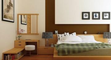 zen bedroom ideas with wooden floor and low shelf