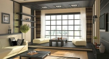 zen living room ideas for low ceilinged rooms