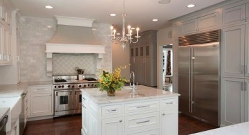 Colonial Kitchen Remodel Stove and kitchen island